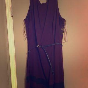 Knee length Taylor Woman dress with Belt 24W